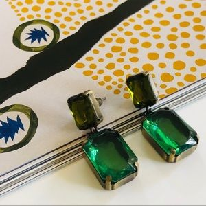 Emerald Green & Gold Rectangle Vintage Earrings